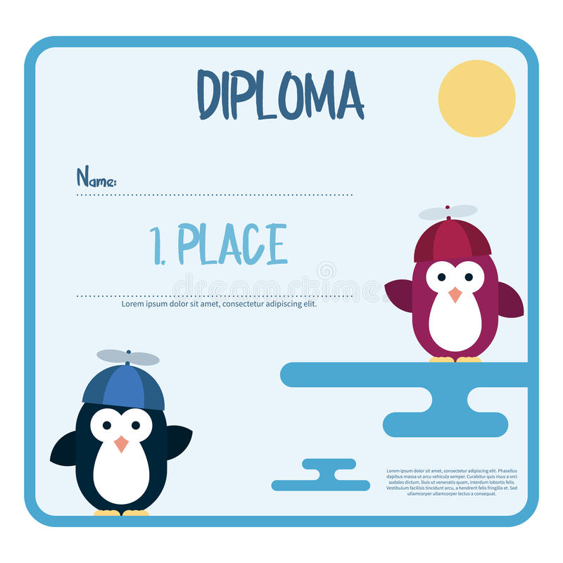 用企鹅装饰的文凭平的模板传统化了作为有推进器帽子的孩子 向量例证