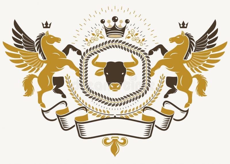 用传染媒介元素创造的纹章学标志喜欢神话佩格瑟斯, 库存例证
