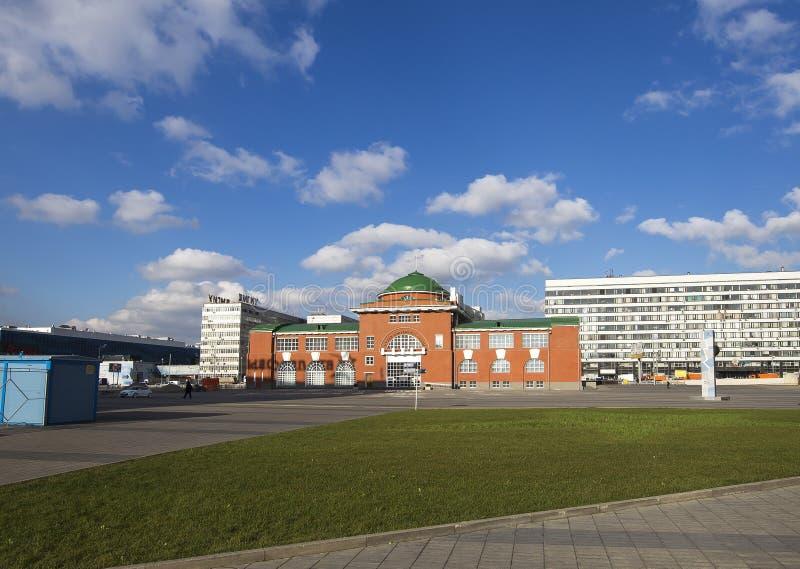 用俄语写的曲棍球名望博物馆,莫斯科,俄罗斯 库存照片