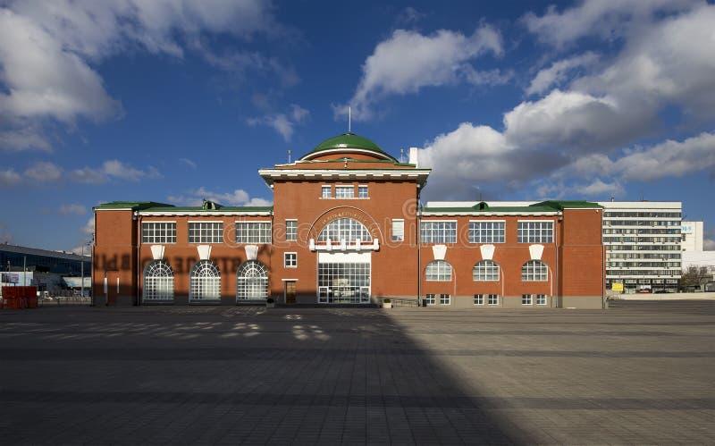 用俄语写的曲棍球名望博物馆,莫斯科,俄罗斯 免版税库存图片