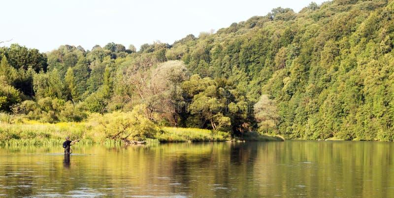用假蝇钓鱼风景 库存图片