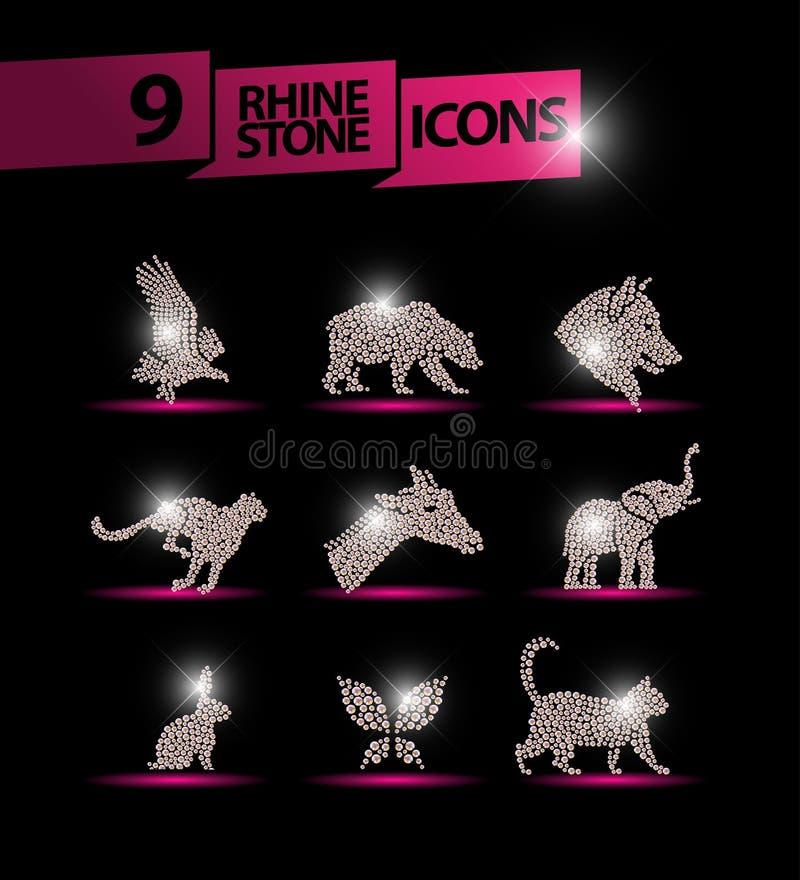 用假钻石宝石做的传染媒介动物画象在黑背景设置了 皇族释放例证