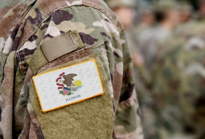 用军装为伊利诺伊州国旗 美国 美国,军队,士兵 拼贴 免版税库存图片
