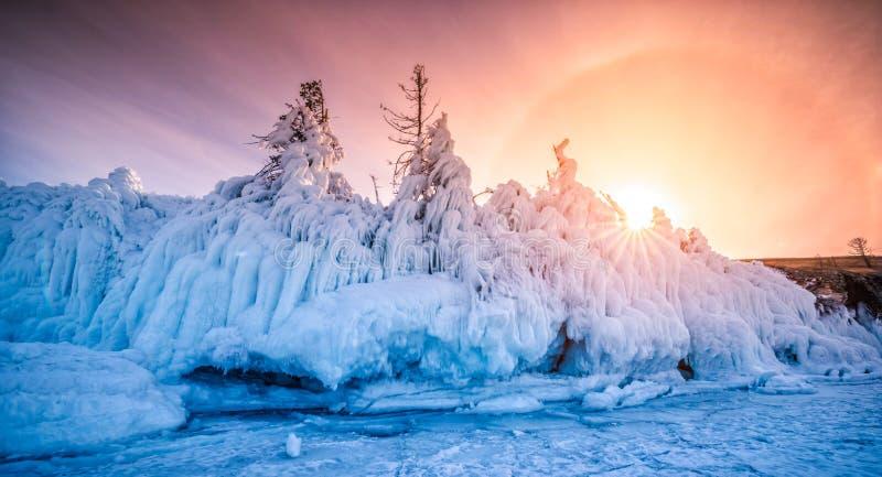 用冰和雪盖的树在高昂贝加尔湖的岸的日落在冬天,西伯利亚,俄罗斯 免版税库存照片