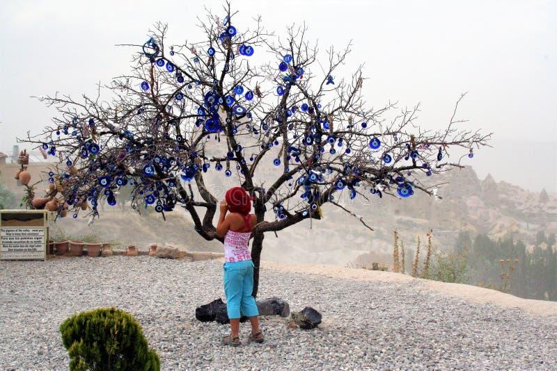 用凶眼装饰的树,在Uchisar谷在卡帕多细亚,土耳其 免版税库存图片