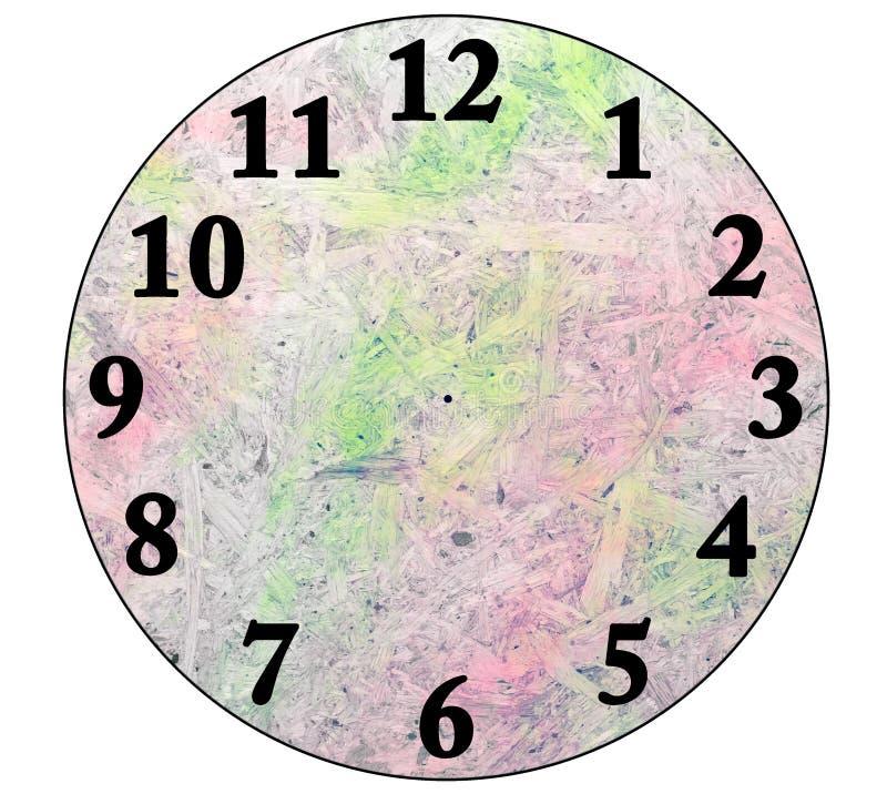 用压纸背景创造一个时钟,隔绝在白色 免版税库存图片