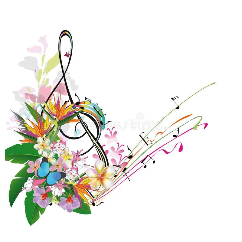 用叶子和花装饰的抽象高音谱号 库存例证