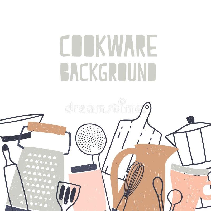 用各种各样的厨具或炊具装饰的方形的背景,厨房器物和工具为食物配制在 向量例证