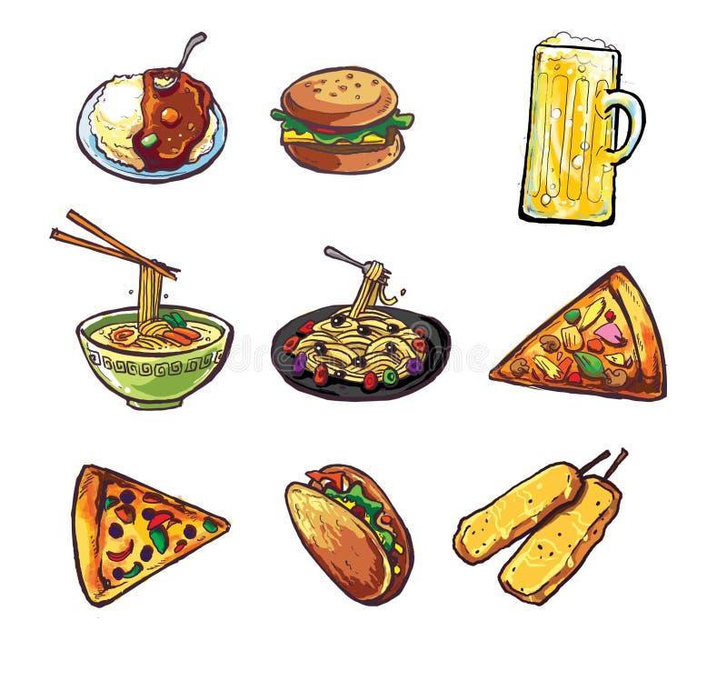 用咖哩粉调制快餐啤酒意大利面食薄饼面条炸玉米饼徽标   向量例证