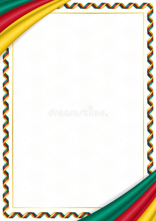 用喀麦隆全国颜色做的边界 向量例证
