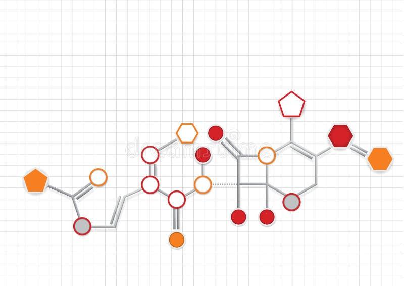 用圈子、被连接的橙色和灰色颜色五边形和hegagons代表的化学式的例子  向量例证