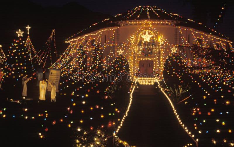 用圣诞灯装饰的巴勒阿德议院在晚上,帕萨迪纳,加利福尼亚 库存照片