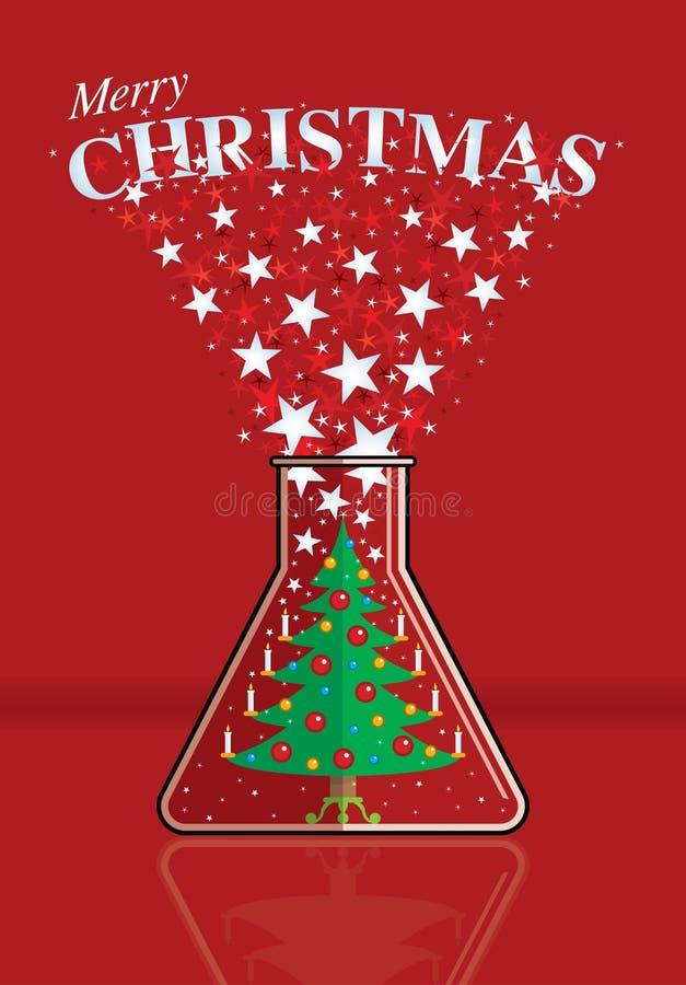 用在抛出与圣诞快乐消息的烧瓶里面的灼烧的蜡烛装饰的圣诞树白色星 库存例证