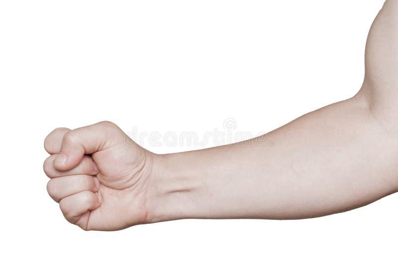 用在拳头关闭的手武装被隔绝 库存图片