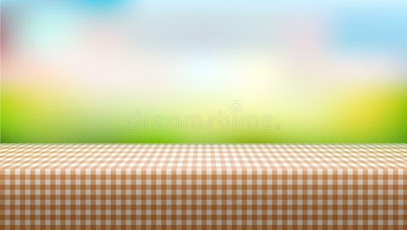 用在被弄脏的背景的桌布盖的野餐桌 向量例证