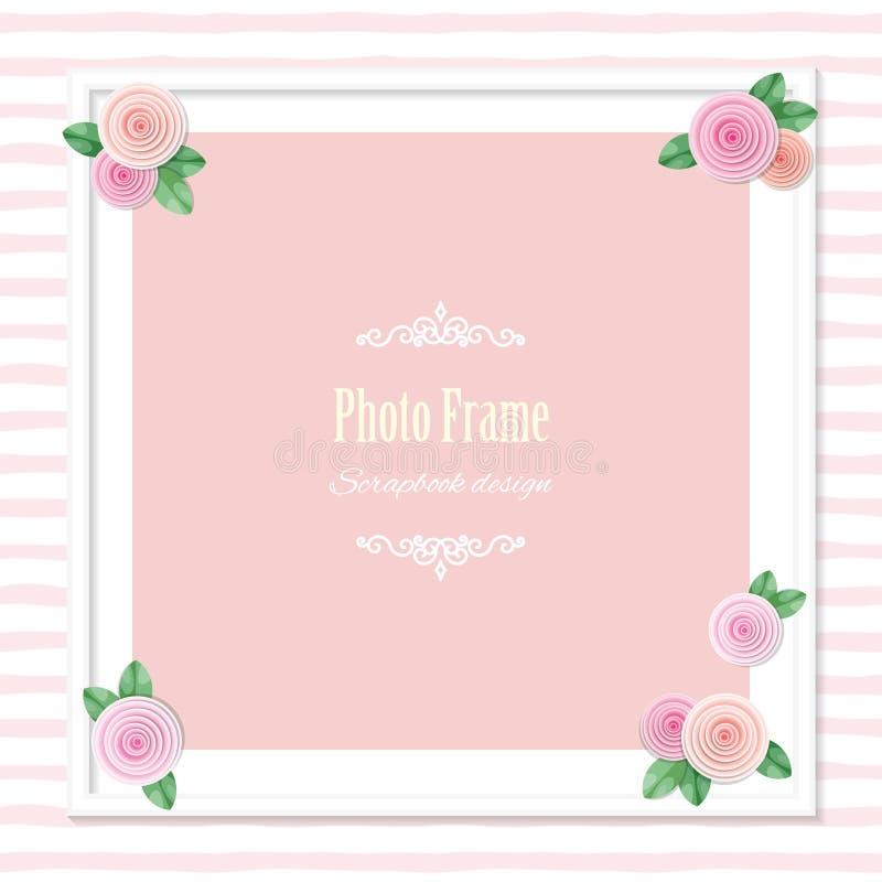 用在镶边背景的玫瑰装饰的典雅的方形的照片框架 婚礼,婴儿送礼会,剪贴薄册页页模板 娘儿们 皇族释放例证