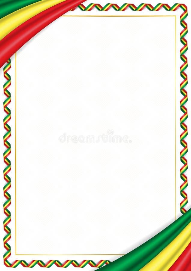 用塞内加尔全国颜色做的边界 库存例证