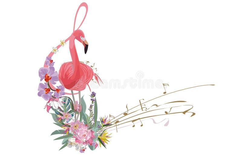 用夏天和春天花装饰的抽象高音谱号,棕榈叶,笔记,鸟 皇族释放例证