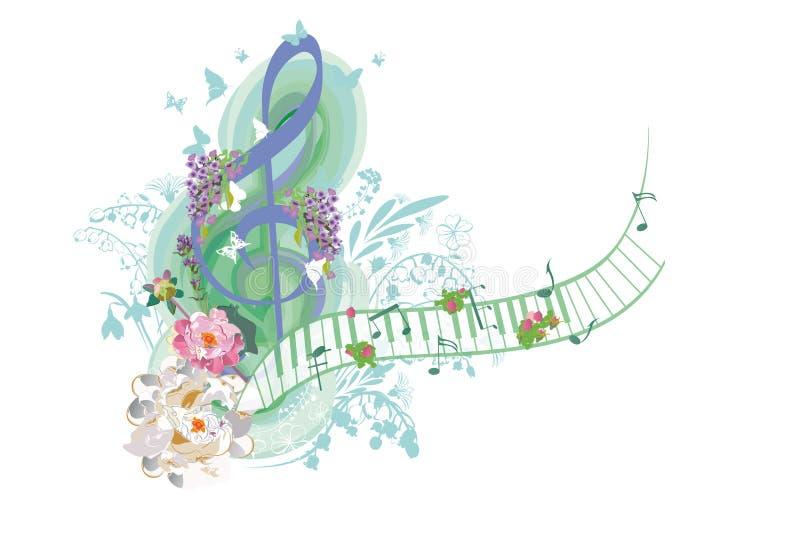 用夏天和春天花装饰的抽象高音谱号,棕榈叶,笔记,鸟 向量例证