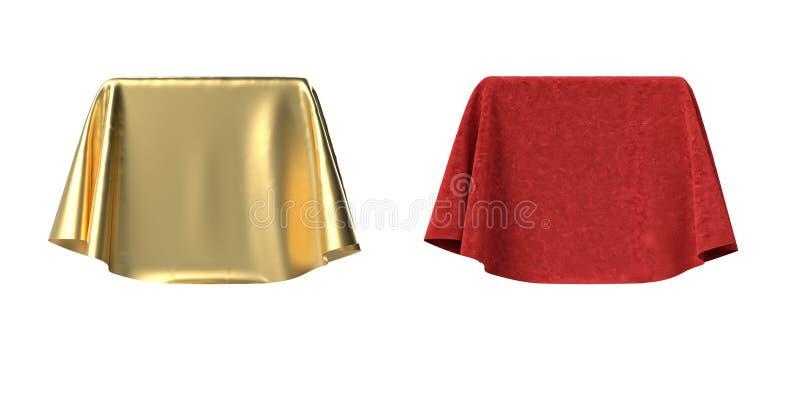 用天鹅绒和缎织品3D例证盖的箱子 向量例证