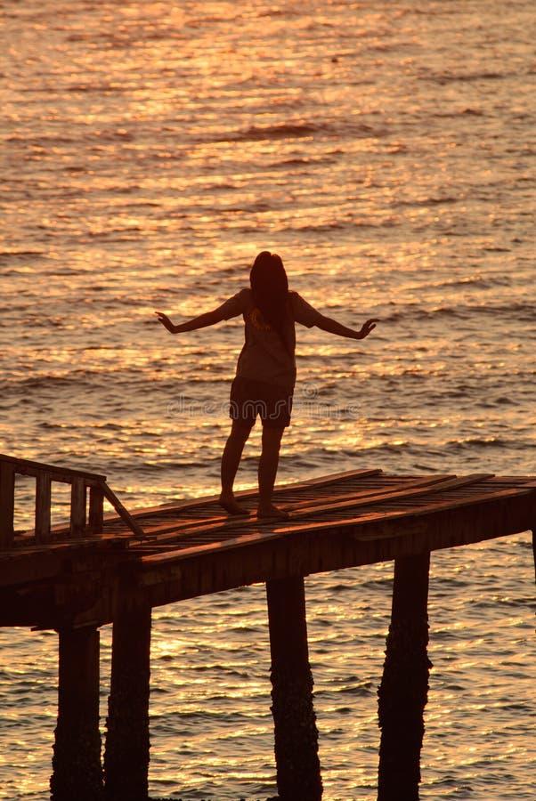 用她的手观看太阳集合的妇女 图库摄影
