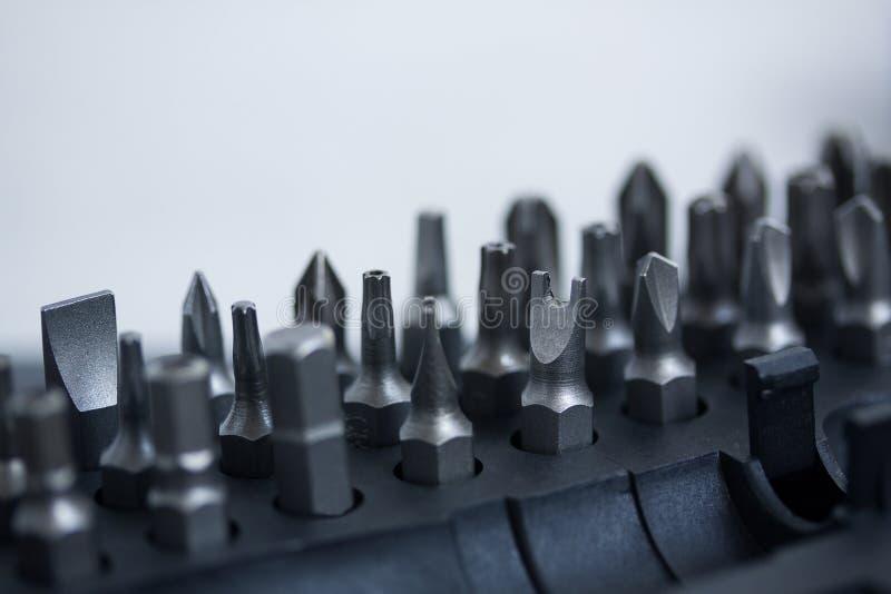 用宏观不同的喷管的工具箱 图库摄影