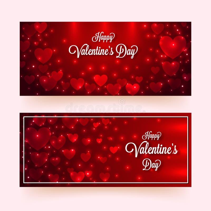 用对光滑的红色背景的光线影响装饰的纸心形与书法情人节快乐 向量例证