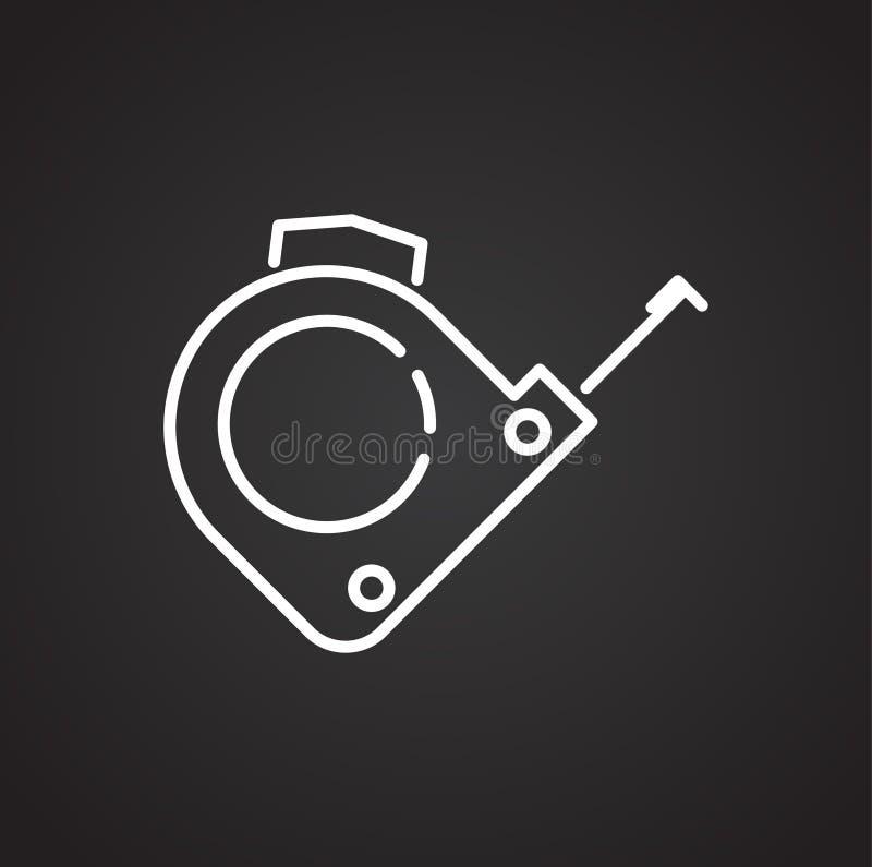 用工具加工在黑背景的测量的磁带线象图表和网络设计的,现代简单的传染媒介标志 背景蓝色颜色概念互联网 时髦 向量例证