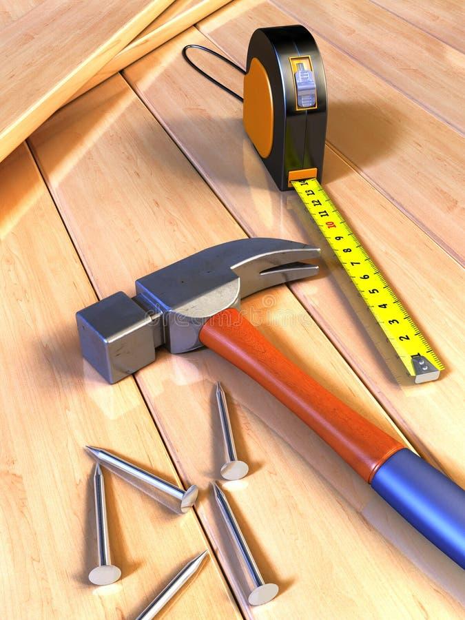 用工具加工木制品 向量例证