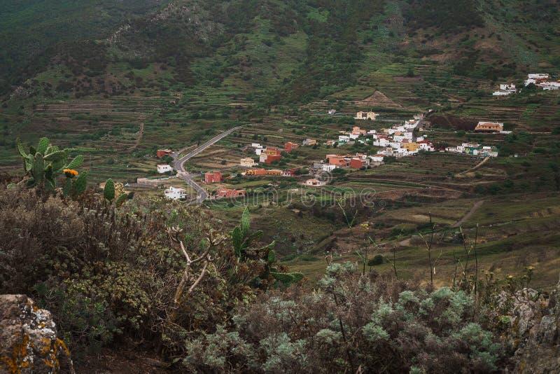 用干花、多汁植物和仙人掌盖的火山的山风景  在距离有小五颜六色的房子 库存照片