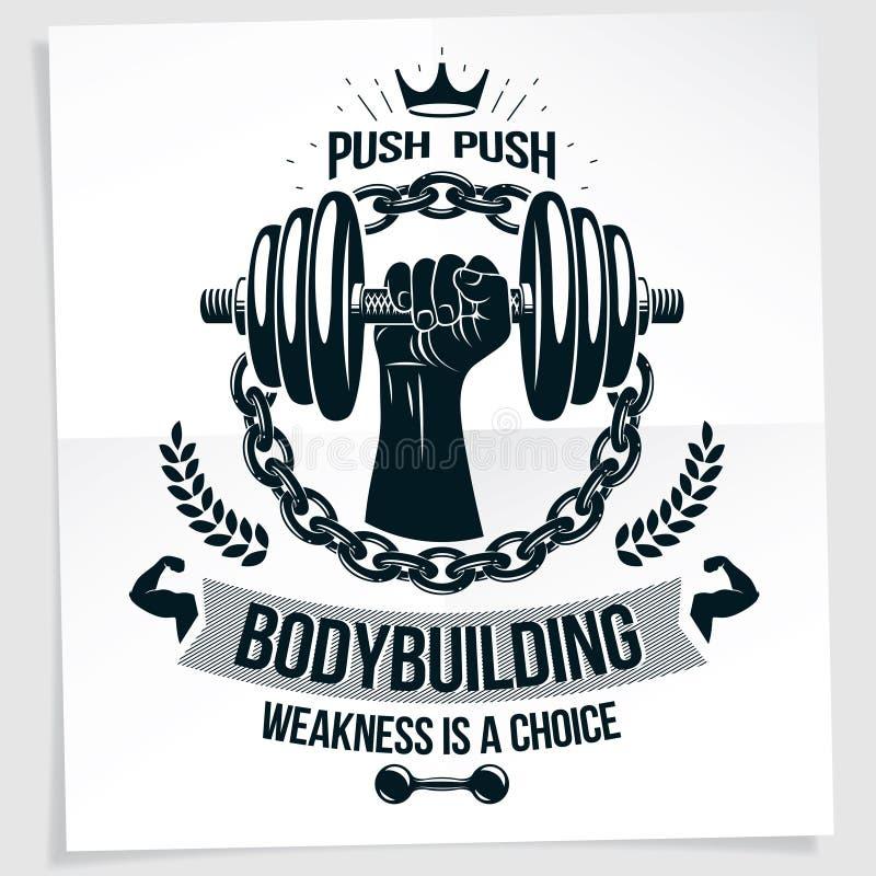 用强的肌肉爱好健美者武器储备哑铃创造的担子力量举的冠军传染媒介广告海报 库存例证