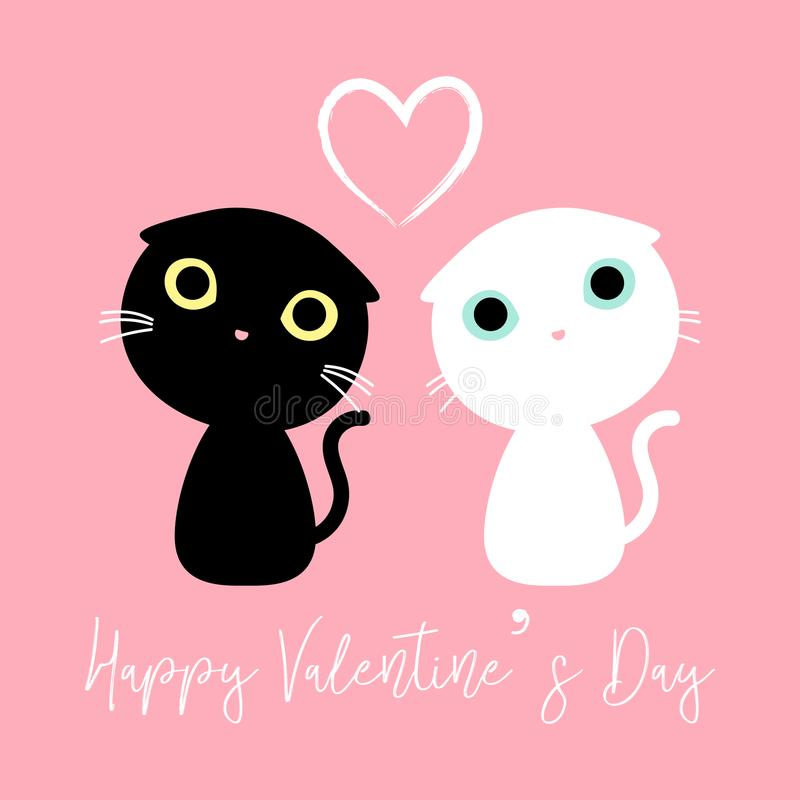 用愉快的valentine&装饰的逗人喜爱的夫妇猫x27; s天 向量例证