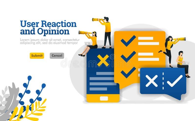 用户反应和交谈观点与应用程序 对销售和广告业例证概念可以是用途为,lan 皇族释放例证