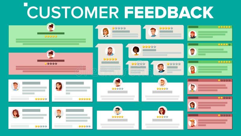 用户反映传染媒介 正面的事务,否定的评审 存放质量工作 证明书通知消息 向量例证