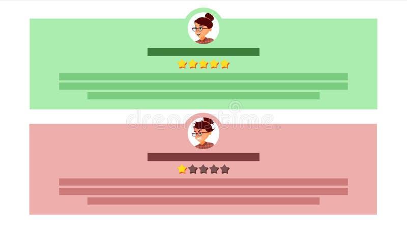 用户反映传染媒介 用户具体化 回顾规定值讲话泡影 证明书消息 存放质量工作 平面 向量例证