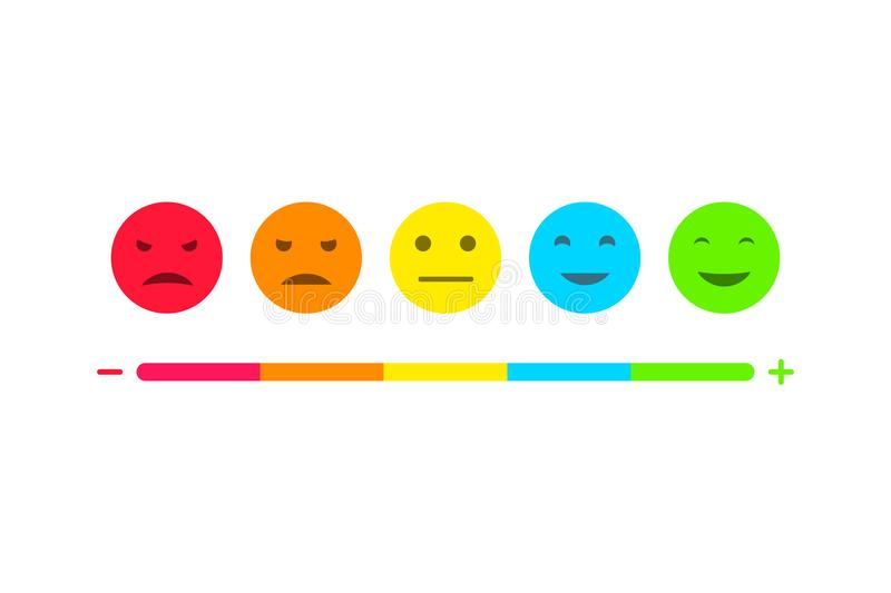 用户反馈意思号infographics集合 消费者调查证明书面带笑容例证 库存例证