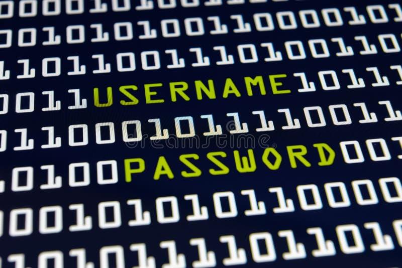 用户名和密码-互联网 图库摄影
