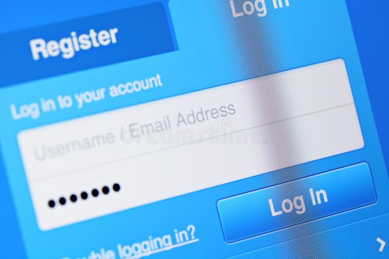 用户在屏幕上的注册帐户 库存图片