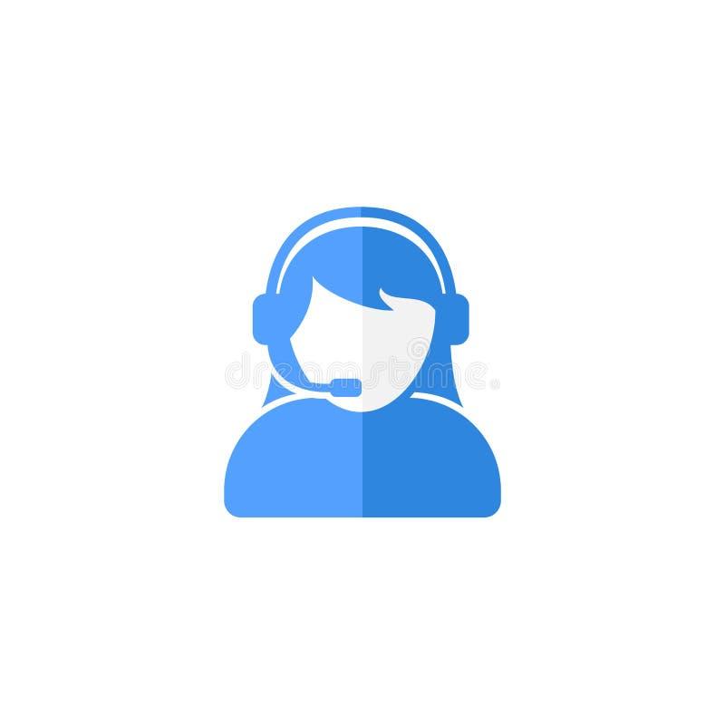 用户支持或客服代理与耳机平的传染媒介象设计 向量例证