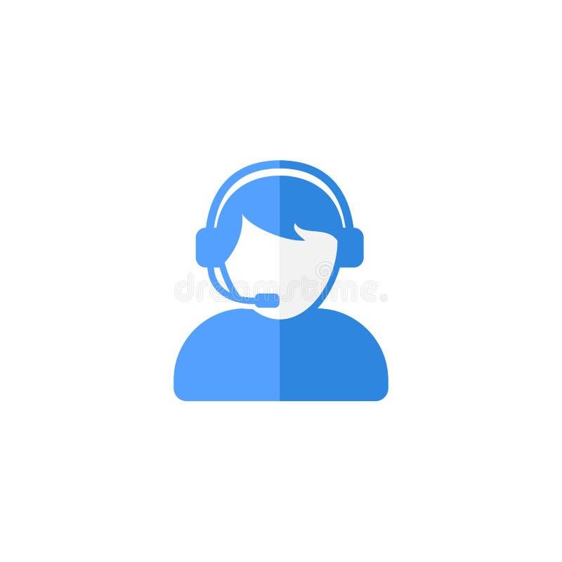 用户支持或客服代理与耳机平的传染媒介象设计 皇族释放例证