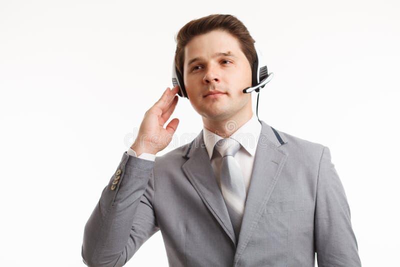 用户支持电话操作员在办公室 在演播室 免版税库存照片