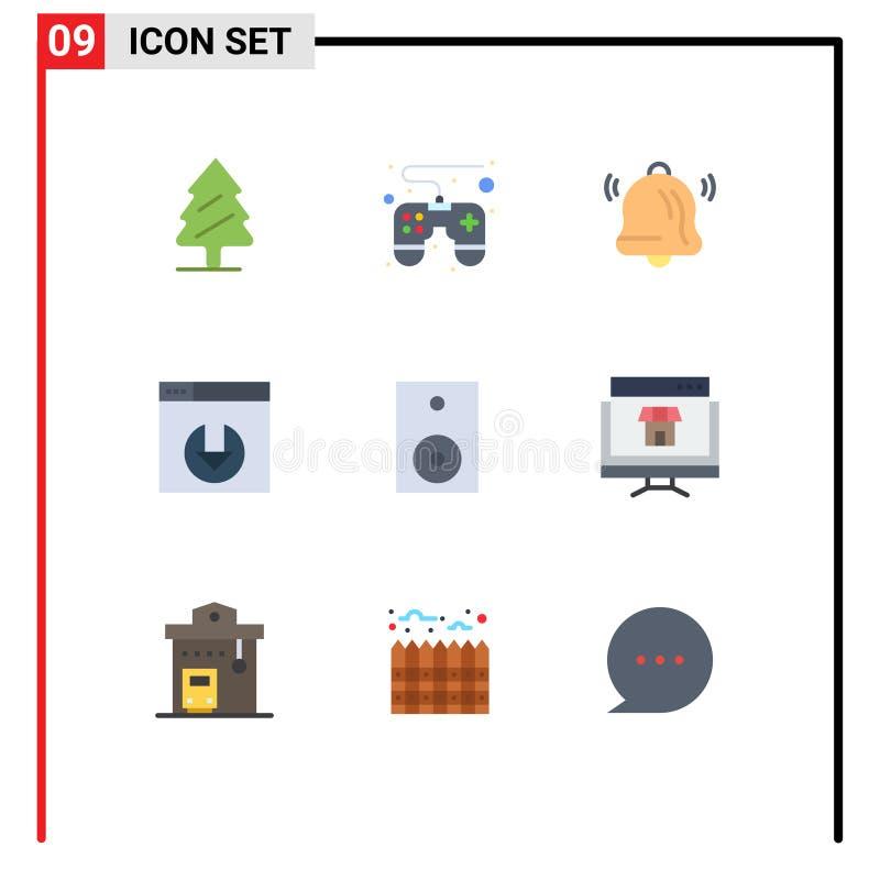 9用户界面平面颜色包,包括技术、产品、通信、电子、服务器下载的现代标志和符号 向量例证