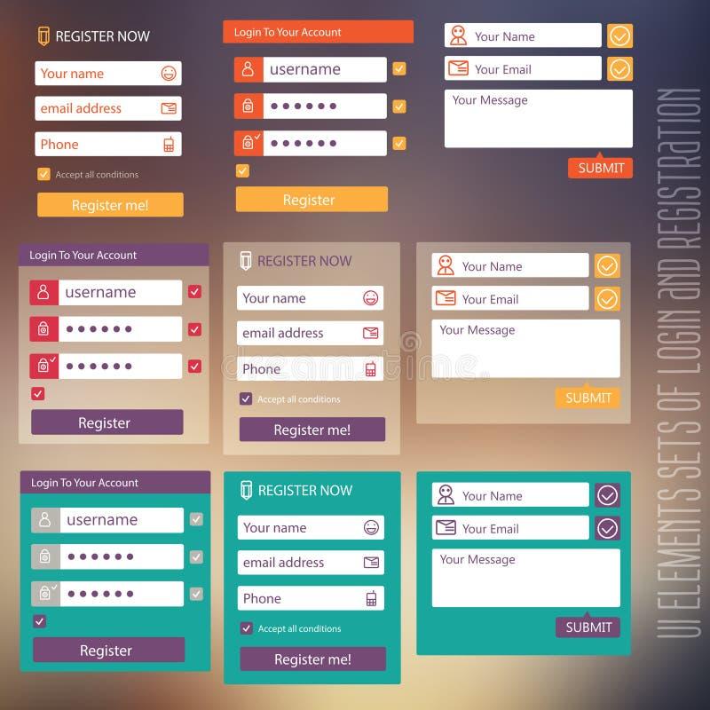 用户界面注册元素集和 向量例证