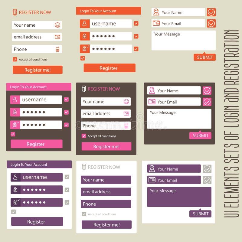 用户界面注册元素集和 皇族释放例证