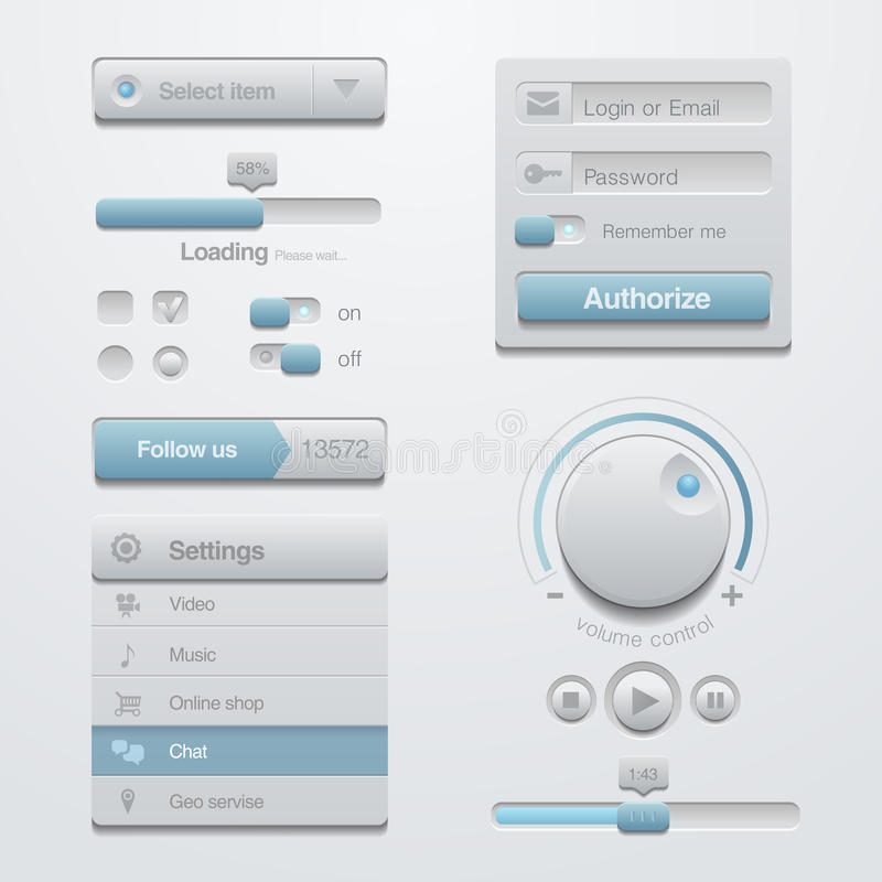 用户界面设计元素模板成套工具。对A 向量例证