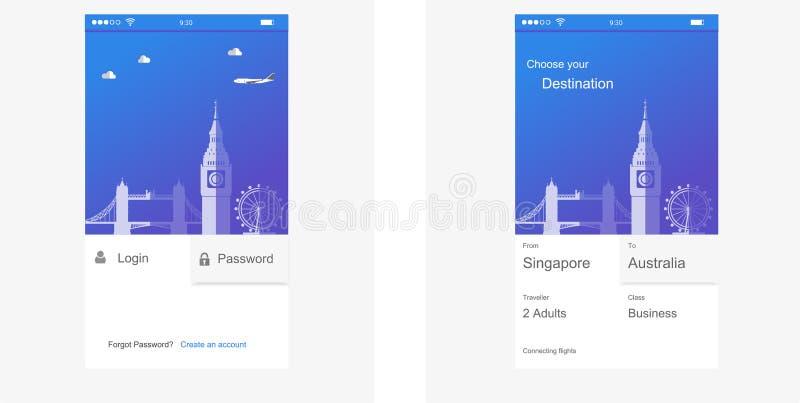 用户界面,应用手机的模板设计 向量例证