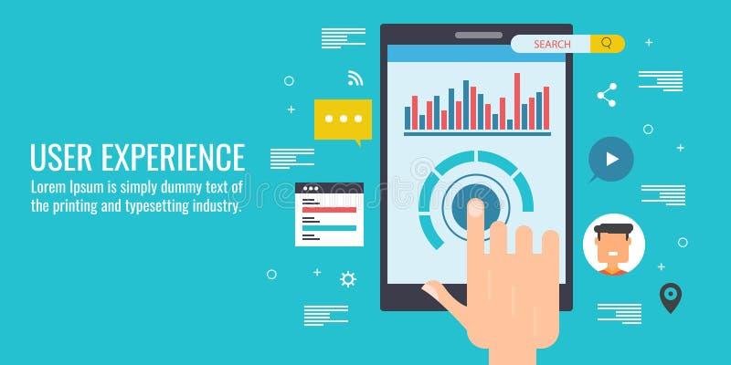 用户经验,软件开发,流动代码,编程,仪表板, ux设计观念 平的设计传染媒介横幅 库存例证