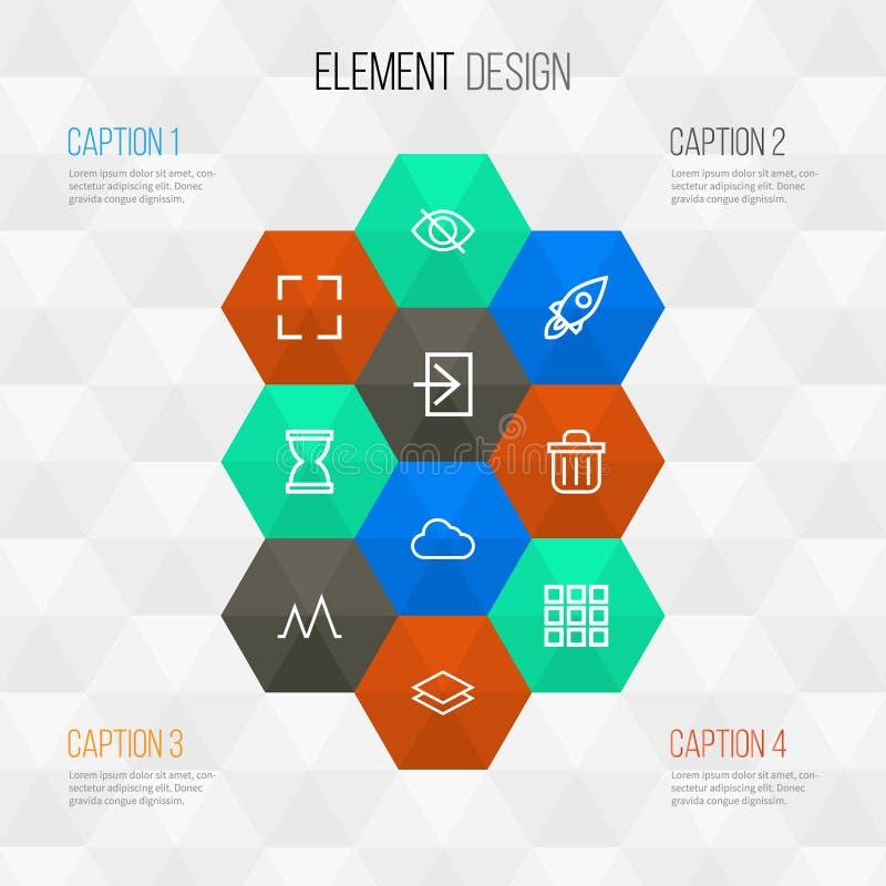 用户被设置的概述象 滴漏,活动,整个银幕和其他元素的汇集 并且包括标志例如 向量例证