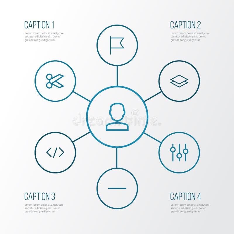用户被设置的概述象 用户的汇集,去除,代码和其他元素 并且包括标志例如剪刀 皇族释放例证