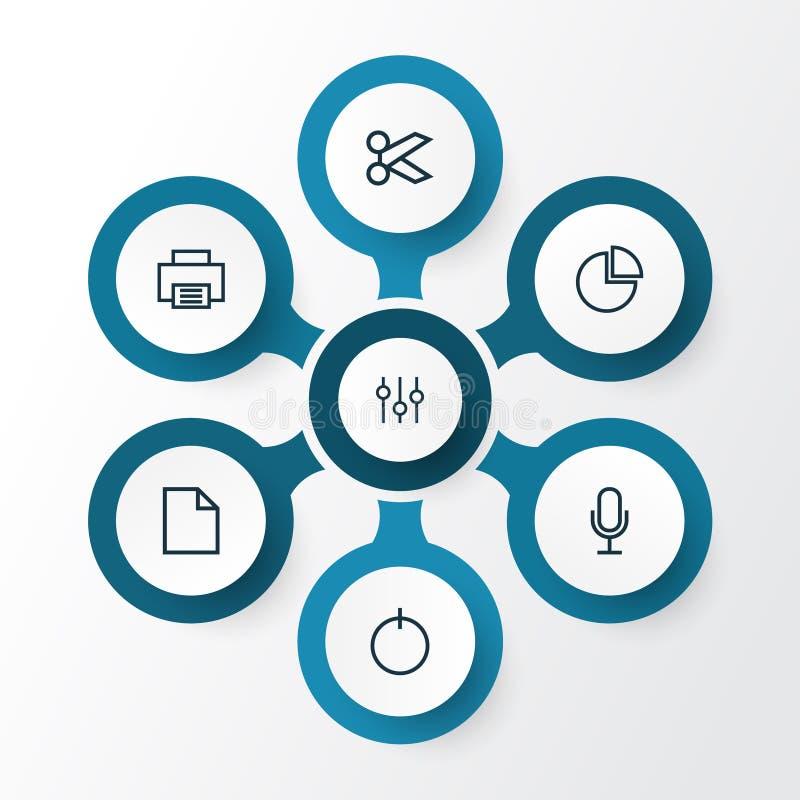用户被设置的概述象 裁减、音频、通电和其他元素的汇集 并且包括标志例如力量 皇族释放例证